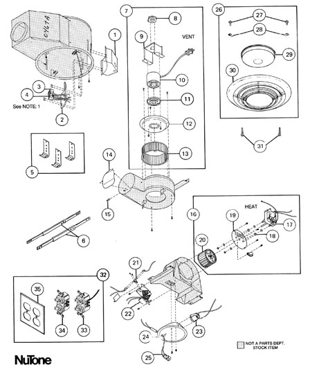 nutone qt9093 heater parts