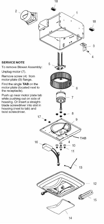 nutone qtren080flt exhaust fan with light parts