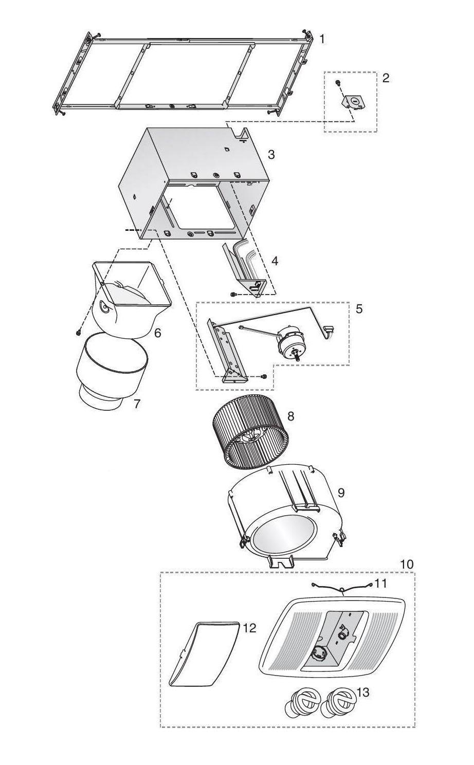 Broan zb80l bathroom fan 80 cfm parts - Broan bathroom fans replacement parts ...