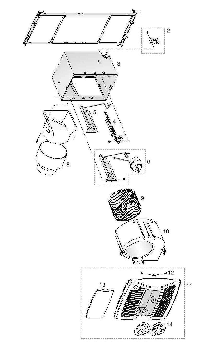 broan zb80ml bathroom fan 80 cfm parts
